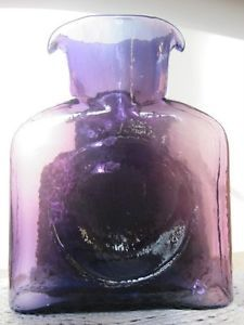Blenko Hand Blown Glass Pontil Purple Water Double Spout Pitcher Bottle Sticker