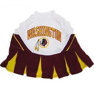 Dog Pet Washington Redskins NFL Football Cheerleader Outfit Collar Leash Costume
