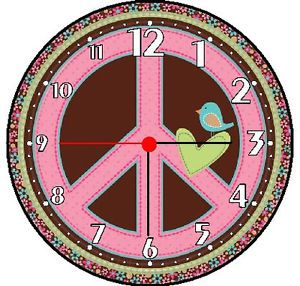 Peace Sign Wall Decor Clock