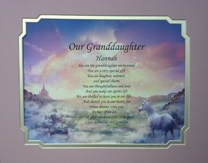 Our Granddaughter Personalized Poem Birthday or Christmas Gift Unicorn Decor