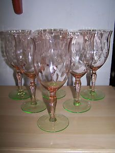 6 Watermelon Depression Glass Wine Glasses Tiffin Etched Flower Design Optic