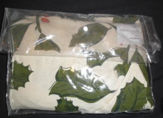"NIP Crate Barrel Holly Green Tablecloth Seats 6 60"" x 90"" Christmas"