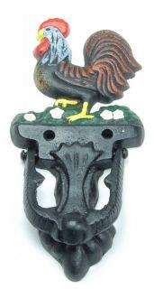 Cast Iron Rooster Door Knocker Painted