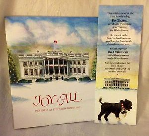 Pres Obama Michelle First Dog Bo 2012 Christmas Holiday White House Tour Book