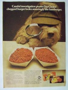 1976 Top Choice Dog Food Cute Detective Dog Magazine Advertisement Ad Page