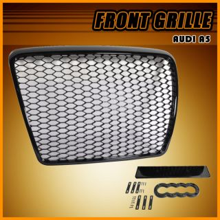05 10 Audi A6 C6 RS Honeycomb Mesh ABS Front Hood Grille Grill Shiny Black