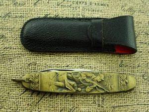Vintage Germany Mallard Duck Hunting Dog Embossed Art Pocket Watch Pen Knife Fob