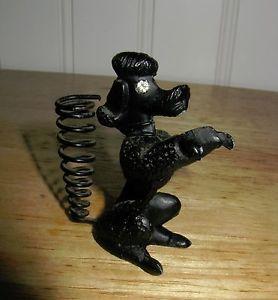 Vintage 1940s 1950s Cast Iron Black Poodle Dog Pen Holder Rhinestone Eyes
