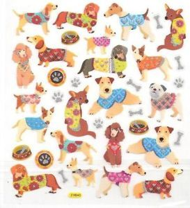 Cute Dogs Poodle Dog Bones Paw Print w Silver Glitter Accented Stickers