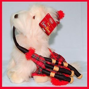 "New Disney Store Santa Paws 15"" Haggis RARE Plush Stuffed Scottie Dog w Bagpipes"
