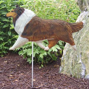Collie Wood Carved Dog Figure Garden Stake Home Yard Decor Dog Products Gifts