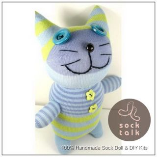Handmade Striped Sock Monkey Cat Stuffed Animals Doll Baby Toy