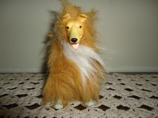 Collie Dog Shaggy Plush Poseable Rubber Face Toy