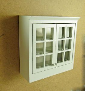 Dollhouse Miniature White Upper Kitchen Cabinet Faux Glass Doors