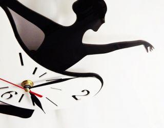 DIY Black Ballet Girl Quartz Movement Art Design Home Decor Novelty Wall Clock