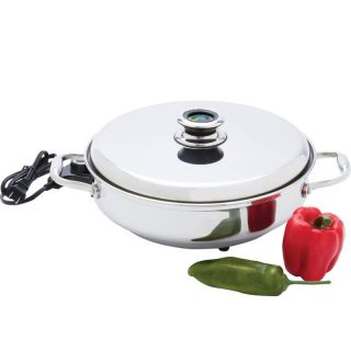 "Stainless Steel Covered Lid Deep Electric Skillet 12"" Round Kitchen Cooker"