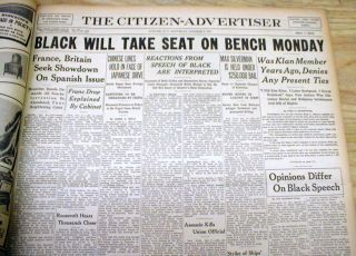 3 1937 Newspapers Former KKK Member Hugo Black Takes Seat on US Supreme Court