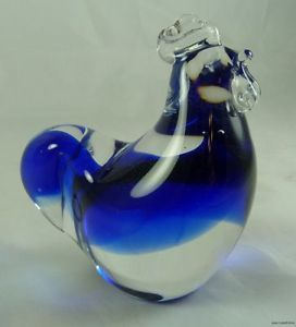 Vintage Cobalt Blue Art Glass Rooster Figurine or Paperweight Paper Weight