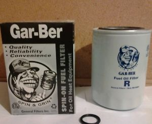 Gar Ber Model R Spin on Oil Fuel Filter Replacement Cartridge New in Box