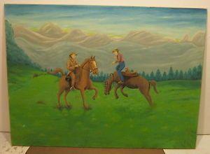 Art Oil on Canvas Board Americana Primitive Cowboys Horses Signed Leo Whitter
