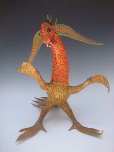 """Old Vintage Mexican Folk Art Linares Paper Papier Mache 15 1 2"""" Dragon"""