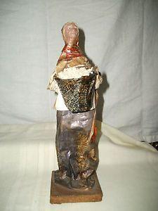 Mexican Latin American Folk Art Paper Mache' People Woman w Basket