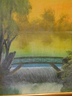 Antique Folk Art Painting on Board Waterfall Bridge Original Frame