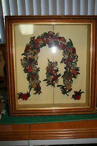 Antique Victorian Mourning Wreath Folk Art Shadowbox Shadow Box Horseshoe Shape