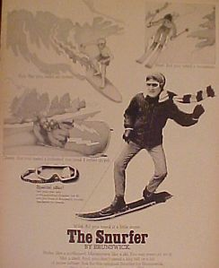 1969 Brunswick Snurfer Winter Snow Board Sled Vintage Goggles OFFER Toy Art Ad