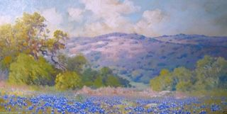 Robert Wood Brilliant Early Texas Bluebonnet Fine Art Piece Oil Board EX Con