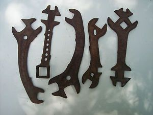 5 Wrenches Old Antique Horse Drawn Plow Vintage Farm Wrench Tools Barn Art