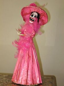 "Day of The Dead Doll Catrina Mexican Folk Art 17"" Dia Los Muertos Paper Mache"