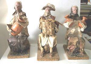 Mexican Folk Art Set of 3 Figures Paper Mache Hand Made Decor Collectible