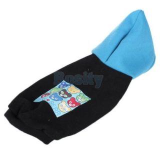 Pet Puppy Dog Black Blue Hoodie Sweatshirt Coat Clothes Apparel Buttoned Fleece