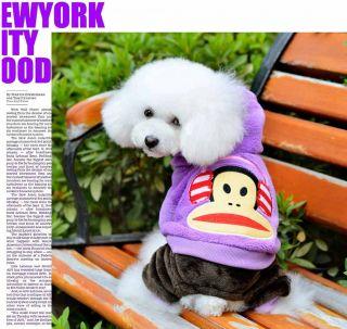 New Fashion Cartoon Monkey Pet Dog Fleece Clothes Product Clothing Warm Costume