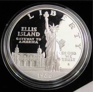 1986 s Statue of Liberty Proof Silver Dollar Commemorative Coin Only 308