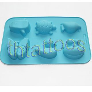 """Hot Silicone Frog Penguin Turtle Chocolate Cake Soap Molds Mould 10 5"""" x 6 6"""""""