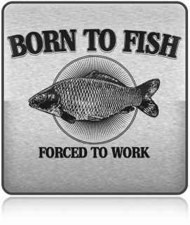 Born to Fish Forced to Work Funny Slogan T Shirt Men's Size Tees s XXL