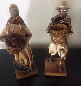 "Vintage 1940's Mexican Folk Art Paper Mache Old Woman Man Statues Figurines 12"""