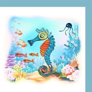 Handcrafted Paper Quilled Quilling Greeting Card 6x6 CA Blue Seahorse Art