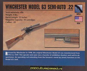 Winchester Model 63 Semi Auto Rifle 22 Atlas Classic Firearms Gun Card