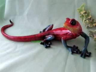 Gecko Lizard Red Blue Golden Pond Realistic Hand Painted Resin Sculpture