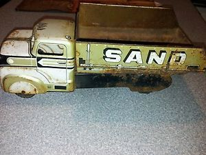 Vintage Marx Tin Metal Toy Dump Truck Sand and Gravel