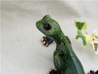 Green Gecko Lizard Golden Pond Hand Painted Resin Sculpture