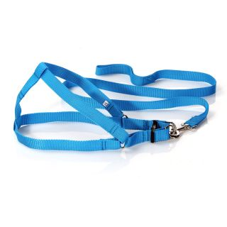 Light Blue Easy Walk Pet Dog Harness Leader with Pull Free Leashes Size M