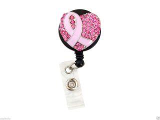 Bling Rhinestone Pink Breast Cancer Awareness Ribbon Retractable ID Badge Reel