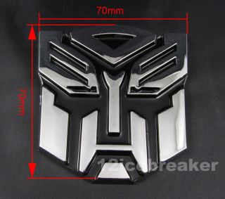 Auto Car 3D Transformer Autobot Logo Emblem Badge Sticker Decal Chrome