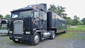 91 Kenworth Cabover Semi Tractor Truck 400 Cat 1983 44' Horse Trailer 8 Stalls