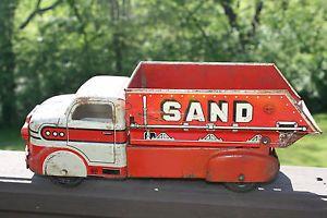 Vintage Marx Tin Metal Toy Dump Truck Sand and Gravel