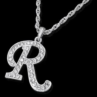Alphabet Initial Letter R Silver Plated w Crystal Pendant Charm Necklace Chain